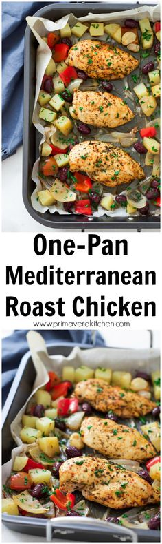 one-pan-mediterranean-roast-chicken - This delicious, gluten-free, paleo, simple to prep and cook One-Pan Mediterranean Roast Chicken with potatoes, onions, red pepper and black olives is all made and cooked in one pan, making clean-up a breeze!