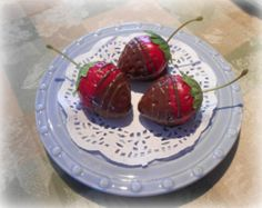 Three Faux Chocolate Dipped Strawberries Fake Food Photo Prop