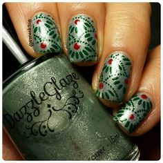 used my new @bornprettystore plate BPL-0004 sent to me from @bornprettynailart...used this for day 6: winter berries #clairestelle8jan  Use code RADGK31 to receive 10% off your BornPrettyStore.com order. polish is 'platinum grass' @dazzleglaze and stamped with 'Woodland Whimsy' by @paintedpolishbylexi cleaned up with @cosette.nail.shop brush and used my C-Thur Stamper. @shoploveangeline Topped with Love