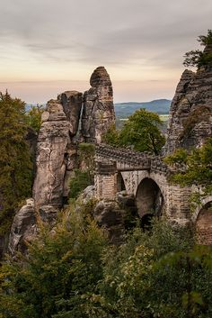 TheBastei Bridgein Saxon SwitzerlandNational Park, Germany ~ photo bySteFou