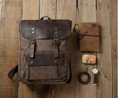 The Brumby, Leather and Canvas Vintage Style Backpack – Runaway Bags