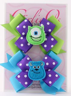 """Monster's University Mike Wazowski & Sulley Pigtail Ponytail Hair Bow Hair Clip 3.5"""" x 3"""" Disney Monster's Inc Sully"""