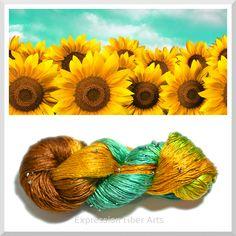 Expression Fiber Arts - FIELDS OF SUNFLOWERS - Crystal Silk Yarn - DK Wt. 100 g/ 300 yd, $39.00 (http://www.expressionfiberarts.com/products/fields-of-sunflowers-crystal-silk-yarn-dk-wt-100-g-300-yd.html)