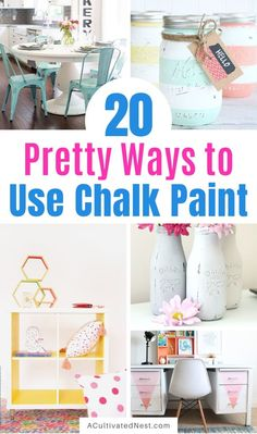 20 Original Ways to Decorate with Chalk Paint- Chalk paint is perfect for distressing furniture and updating your home's decor. For DIY project inspiration, here are 20 original ways to decorate with chalk paint! Diy Home Decor Projects, Home Improvement Projects, Chalky Paint, Bright Decor, Diy Home Repair, Chalk Paint Furniture, Distressed Furniture, Dollar Store Crafts, Decorating On A Budget