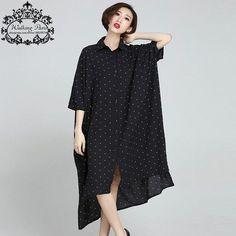 New Plus Size Women Blouse Summer Chiffon Polka Dot Print Casual Female Long Cardigan Black Batwing Sleeve Dress Big Size 6XL