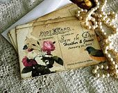 Wedding Save the Date Card Vintage Postcard Personalized Handmade by avintageobsession on etsy