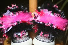 FuNkY Zebra Minnie Mouse Boutique Shoe Bows by TeenyTinyTwinkles, $24.00