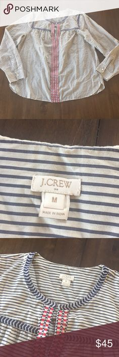 """J Crew Factory Printed Embroidered Peasant Top M😍 J Crew Factory Printed Embroidered Peasant Top in Women's Sz M😍. In excellent used condition. Boho chic and perfect for a warm summer day by the beach. Dressy enough to wear for dinner after! 😍😍 💯 cotton. Long sleeves. Shoulder to shoulder-14.5"""", pit to pit-20.5"""", length-approx 26"""". No rips, tears or stains. J. Crew Factory Tops Blouses"""