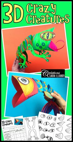 D Crazy Creatures Art Lesson Plan By Art With Creations - D Creatures Will Charm Your Students While Giving Them A Challengewith Some Simple Folding Cutting And Colouring Your Students Will Create A D Lizard This Document Contains Lots Of Different De Paper Art Projects, Animal Art Projects, Easy Art Projects, Cameleon Art, 6th Grade Art, 3rd Grade Art Lesson, Ecole Art, Art Lessons Elementary, Elementary Schools
