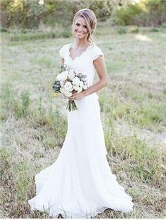 Ericdress Charming V Neck Mermaid Wedding Dress