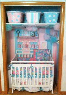 Closet nursery. Small spaces. Small nursery. 100.00 budget. Baby girl nursery. Cotton candy love. My Baby Sam aqua pixie.