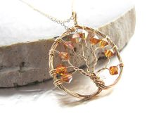 Topaz Tree of Life Necklace November Birthstone by megandarienzo, $78.00