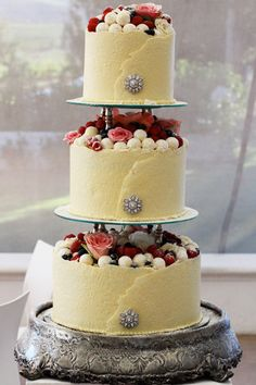 3 Tier Wedding Fruit Cake covered on the sides with white chocolate !