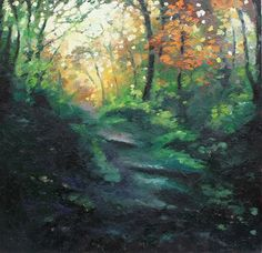 Helen Sheperd, Through the Woods, Oil painting at Riverside Art and Glass, Wroxham, UK. The Warm orange in the trees leads the viewer into an autumnal woodland walk.