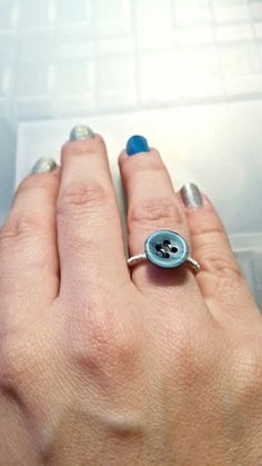 Upcycled Small Blue Button Ring by MalsRingsAndThings on Etsy, $10.00