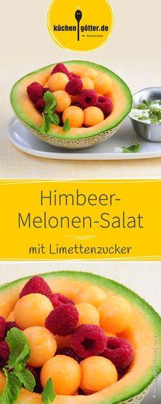 Himbeer-Melonen-Salat mit Limettenzucker, ein herrlicher Dessert-Genuss.