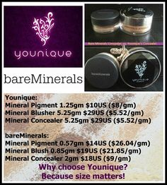 Younique vs. Bare Minerals, size does matter! Have a Younique on-line Party and earn FREE Younique Products. Younique all natural mineral makeup. Shop 24/7 at www.youniqueproducts.com/youniquewithtracey.  Younique Make-up, Try it, you will love it!  Join my Team and have your own Make-up party business. So many ways to sell and earn residual  income!!