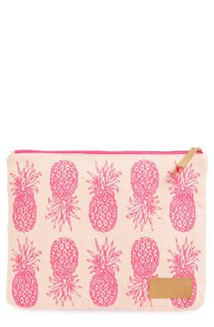 Pink pineapples create a cute vibe on this canvas pouch.