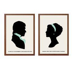ORGULLO Y PREJUDICE| Cartel de baile: Señor Darcy + Elizabeth Bennet moderna ilustración Retro Art Wall Decor
