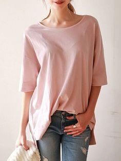Plain Loose Fitting Round Neck Short Sleeve T-shirts #ClothingOnline #PlusSizeWomensClothing #CheapClothing #FashionClothing #womenswear #sexydress #womensdress #womenfashioncasual #womensfashionforwork  #fashion #womensfashionwinter