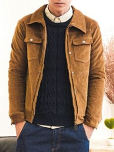 Shop Dark Goldenrod Floral Lining Corduroy Jacket from choies.com .Free shipping Worldwide.$54.99