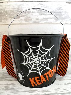 Personalized Custom Halloween Bucket  More by monkeyseeboutique, $22.00
