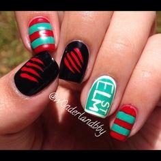 A Nightmare on Elm Street nail art! Freddy Krueger nail art! Love!