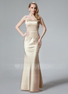 Trumpet/Mermaid Sweetheart Floor-Length Charmeuse Evening Dress With Lace (017004466) - JJsHouse