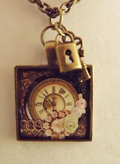 Resin Clock Pendant with Antique Bronze Lock by ShayBelleDesigns, $5.95