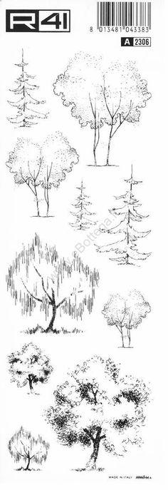 trasferibilir41 Alberi in alzato, NERO. Trasferelli-Trasferibili R41 in fogli 9x25cm . #LandscapeSketch