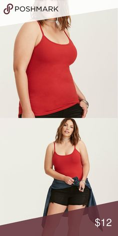 NEW Torrid- Salsa Red Foxy Cami. Size 5. Torrid- Salsa Red Foxy Cami. Size 5. NEW with tag still attached. Only tried on for 2 seconds. These are my favorite tanks ever! Completely sold out online.  **Can post actual picture if wished- but stock pictures always give the best idea in my mind as you can see worn/true color. Happy to take an actual picture though. torrid Tops Camisoles