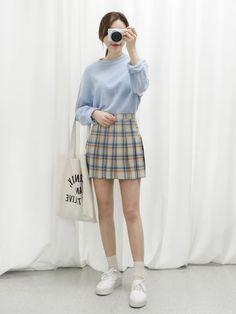 Official Korean Fashion. Plaid skirt, white canvas sneakers, tucked in sweater. #korean #plaid