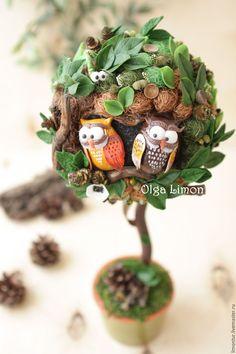 """Купить Дерево """"Будь совой!"""" - тёмно-зелёный, зеленый, совы, сова, совы на дереве, топиарий"""
