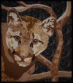 Cougar art quilt by Wind Gypsy Designs