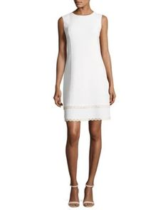 B3UYE Oscar de la Renta Sleeveless Shift Dress with Scalloped Leather Trim, White