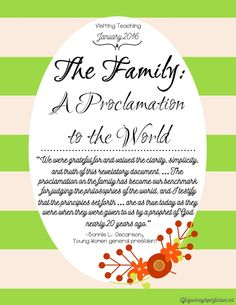Visiting Teaching Ideas for January 2016: The Family: A Proclamation to the World