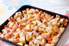 roasted potatoes with carrots, red onions + herbs.