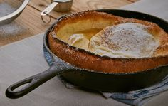 A large, fluffy skillet pancake lovely for an easy weekend brunch, lunch or dessert, that can be whipped together in under 5 minutes. Freshly ground pumpkin pie spices give this pancake just a bit of a kick. Top with confectioners sugar, jam or syrup and enjoy.  | RawSpiceBar