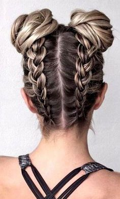 These fun bun braids are the one hairstyle all fashion girls will be wearing thi. - These fun bun braids are the one hairstyle all fashion girls will be wearing thi. Spring Hairstyles, Teen Hairstyles, Hairstyles For School, Natural Hairstyles, Hairstyles With Braids, Fashion Hairstyles, Easy Hairstyles For Long Hair, Pretty Hairstyles, Braided Hairstyles For Short Hair