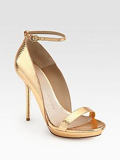 """Burberry Prorsum Chester Snakeskin Ankle Strap Sandals    Sculpted ankle-strap design in genuine metallic snakeskin with tonal trim.  Self-covered heel, 4½"""" (115mm)  Covered platform, ¾"""" (20mm)  Compares to a 3¾"""" heel (95mm)  Snakeskin upper  Adjustable ankle strap  Leather lining and sole  Padded insole  Made in Italy"""