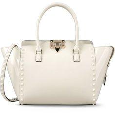Valentino Rockstud double handle bag ($2,395) ❤ liked on Polyvore featuring bags, handbags, purses, valentino, bolsas, ivory, shoulder strap purses, valentino handbags, white patent leather purse and white patent handbag