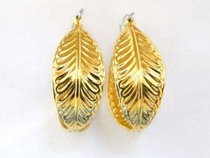 "Vintage Leaf Hoop Earrings Dangle Drop Delicate Retro Costume Jewelry 1.75"" #Hoop"