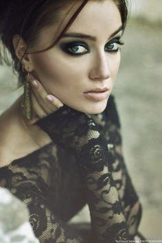 fierce lace tops, stunning makeup, eye makeup, dark eyes, dark beauty, hair makeup, dramatic eyes, eye liner, portrait