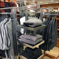 An interesting extension of this Stainless Steel Clothing Rack is to accept end-mount Cantilevered Stainless Steel Rack-End Shelves. Steel Columns, Steel Racks, Stainless Steel, Shelves, Home Decor, Shelving, Shelving Units, Interior Design, Home Interiors