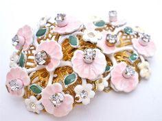 Signed Leru Pink Enamel Flower Lily Pad Rhinestone Clip Earrings Gold Vintage | eBay