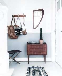 "4,137 Likes, 50 Comments - my scandinavian home (@myscandinavianhome) on Instagram: ""Mid-century touches and two toned walls - the entrance to the home of Dane @morrisseymmm : :…"""
