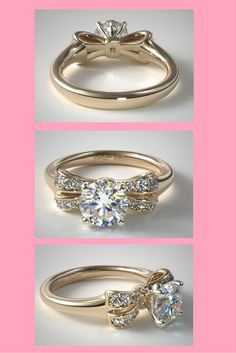 If Hello Kitty had an engagement ring...James Allen Gold Pave Bow Engagement Ring - also in rose gold. Click to see it now!