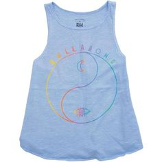 Billabong Unisex Girls Ying Yang Life Tank ($18) ❤ liked on Polyvore featuring tops, chambray, t-shirt/prints, unisex tank, blue tank, billabong tank, print tank and a line tank top