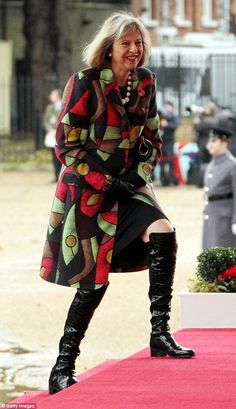 Pin for Later: British Prime Minster Theresa May Has a Style Mantra For All Power Women Over-the-Knee Boots Over 50 Womens Fashion, Bold Fashion, Fashion Over 50, Fashion Trends, Spring Fashion, Over The Knee Boot Outfit, Theresa May, Advanced Style, Ladies Dress Design