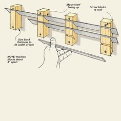 Five Shop Organizers | Woodsmith Tips - The holder is just a few wood blocks with a series of kerfs cut at an angle to hold the rules.
